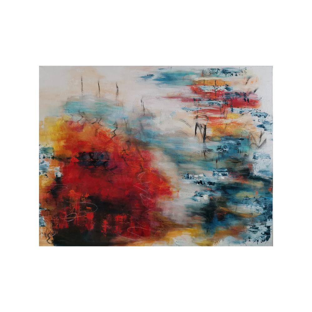 Savua ilmassa, Smoke in the air, 88,5 x 116, mixed media on canvas, 2021