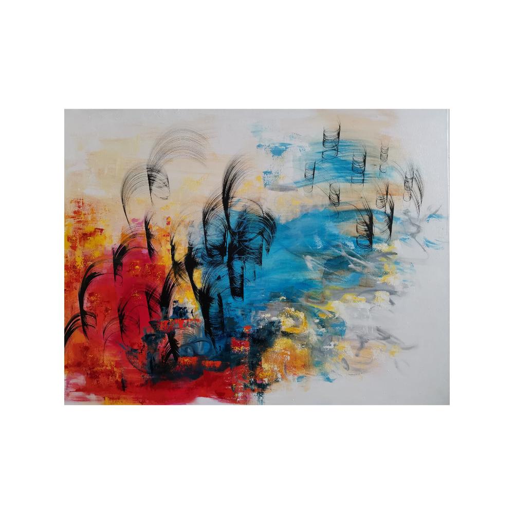 Liekehtivä tuuli, Flaming wind, 88,5 x 116, mixed media on canvas