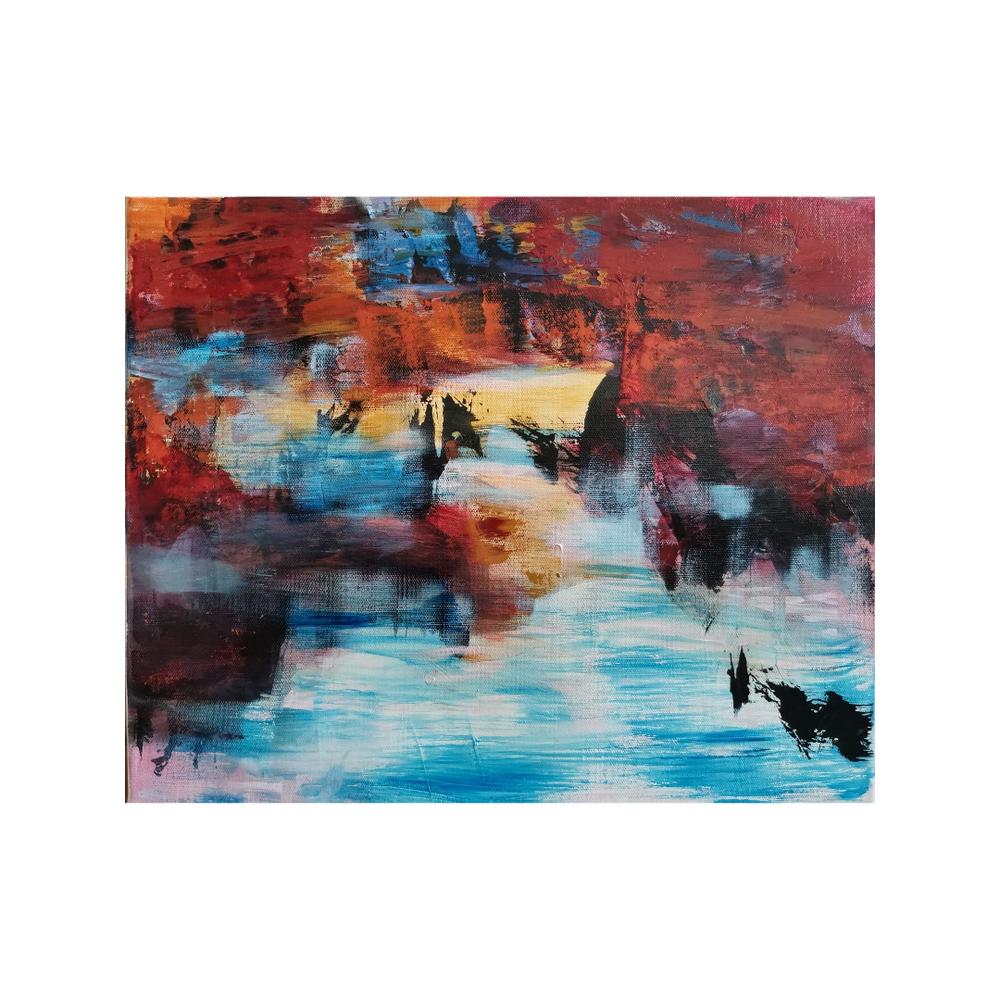 Auringon polte,  Sun burn, 37,5 x 46, mixed media on canvas