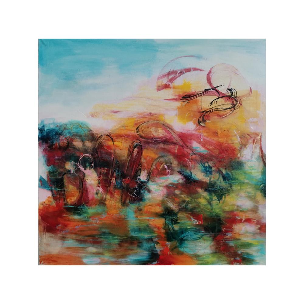 Elämän liekki, Your life is on fire, 100 x 100, mixed media on canvas