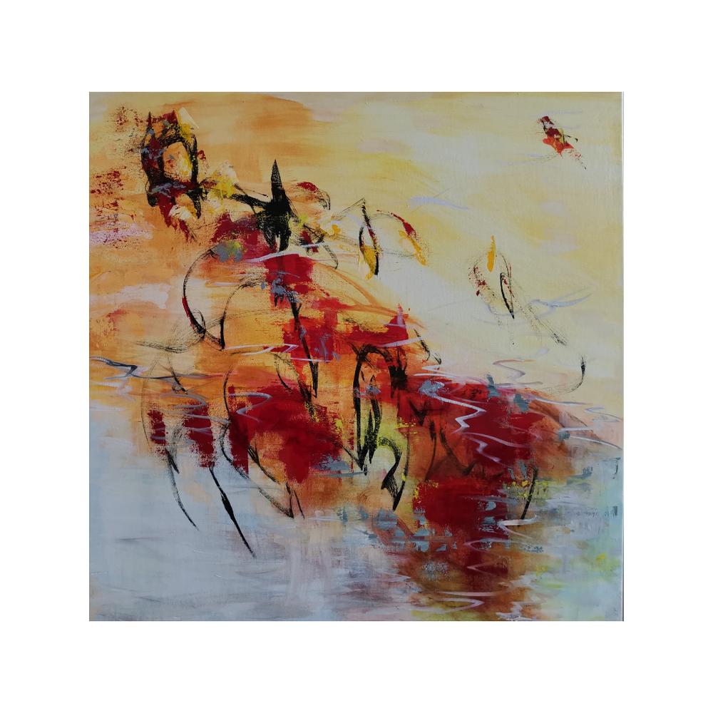Sydäntuli, Hart of the fire, 100 x 100, mixed media on canvas