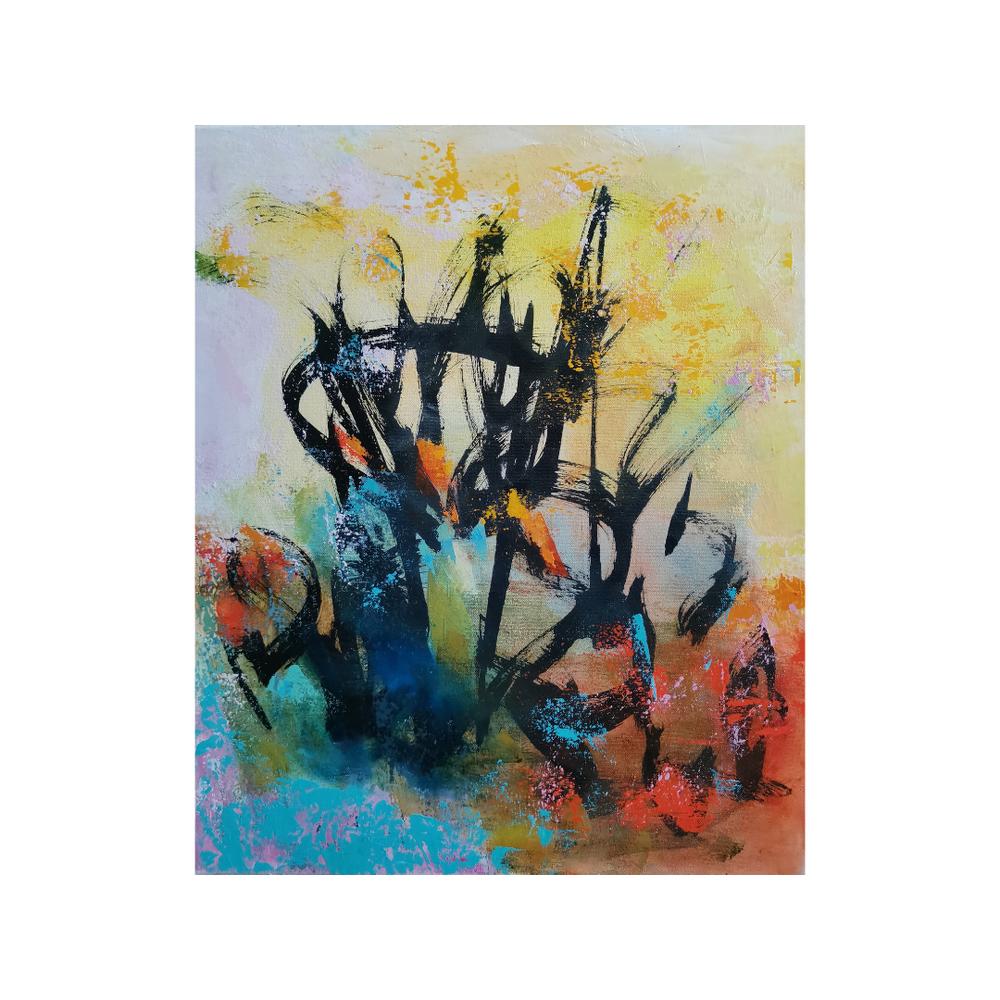 Varovasti siellä, Carefully there, 54 x 46, mixed media on canvas