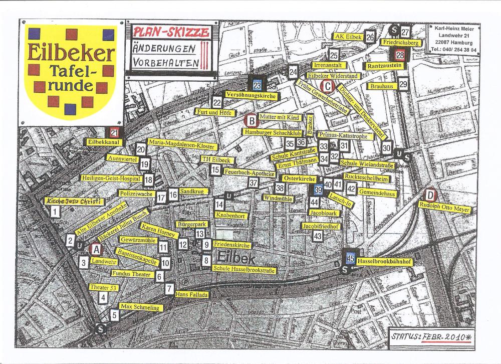 Lageplan der bisher aufgestellten Tafeln der Eilbeker Tafelrunde