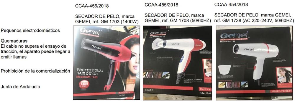 Tres alertas de seguridad de secadores de pelo de una misma marca. Red de alertas del Ministerio de Consumo