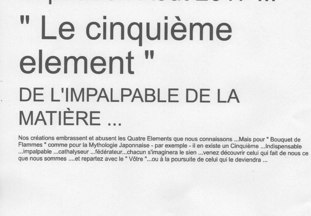 """"""" Le Cinquième élément """" ...Genèse ..."""