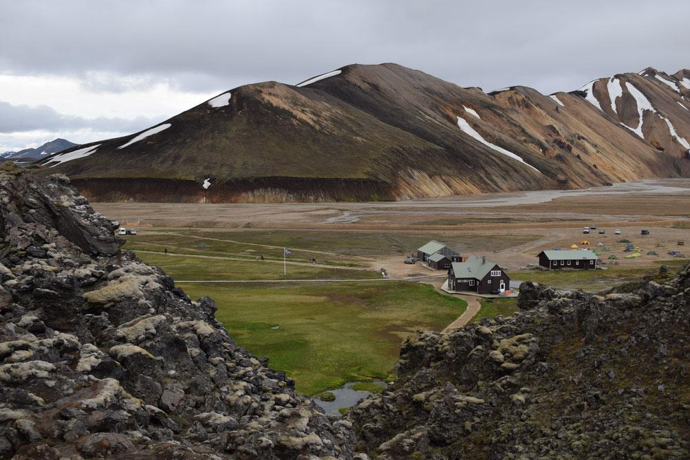 Landmannalaugar camping and huts.