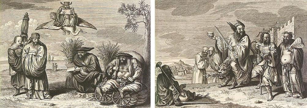 Charlatans. Cérémonies et coutumes religieuses de tous les peuples du monde. — Les peuples idolâtres  : la Chine. Bernard Picart (1673-1733),gravures, Jean-Frédéric Bernard (1683-1744), texte. Bernard, Amsterdam, 1728, vol. IV, IIe pp. 189-276 .
