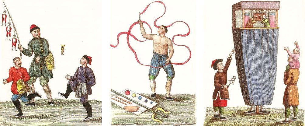 Marionnettes. Jean-Baptiste Breton de la Martinière (1777-1852) : La Chine en miniature, ou choix de costumes, arts et métiers de cet empire. — Nepveu, libraire, Paris, 1811.