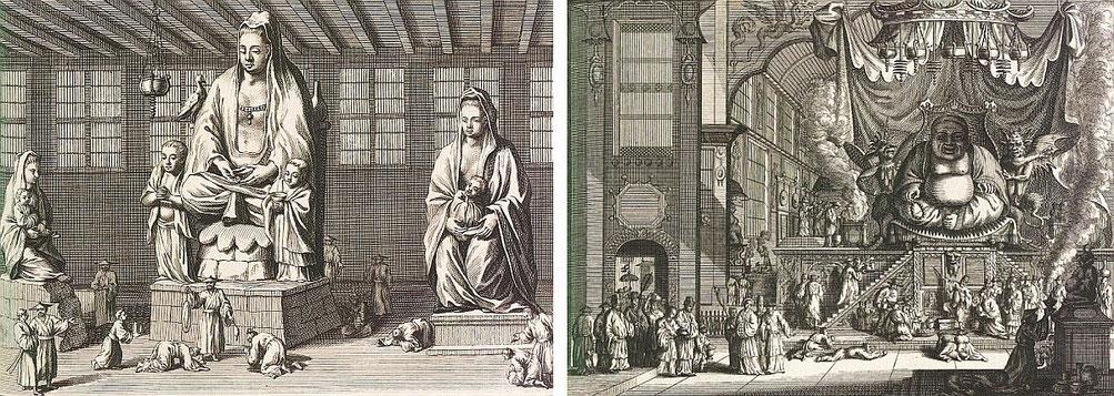 Quonin, Ninifo. Cérémonies et coutumes religieuses de tous les peuples du monde. — Les peuples idolâtres  : la Chine. Bernard Picart (1673-1733),gravures, Jean-Frédéric Bernard (1683-1744), texte. Bernard, Amsterdam, 1728, vol. IV, IIe pp. 189-276 .