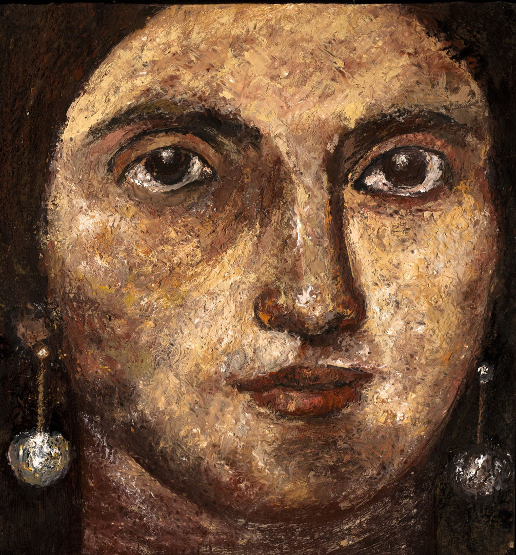 Eldemira, The Gypsy, 2011, encaustics/panel, 12x11 ¾""