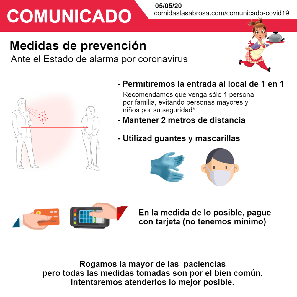 Medidas de prevención covid19 - Comidas La Sabrosa