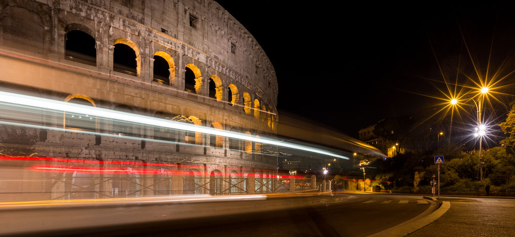 Long exposure of light streaks at Colosseum in Rome