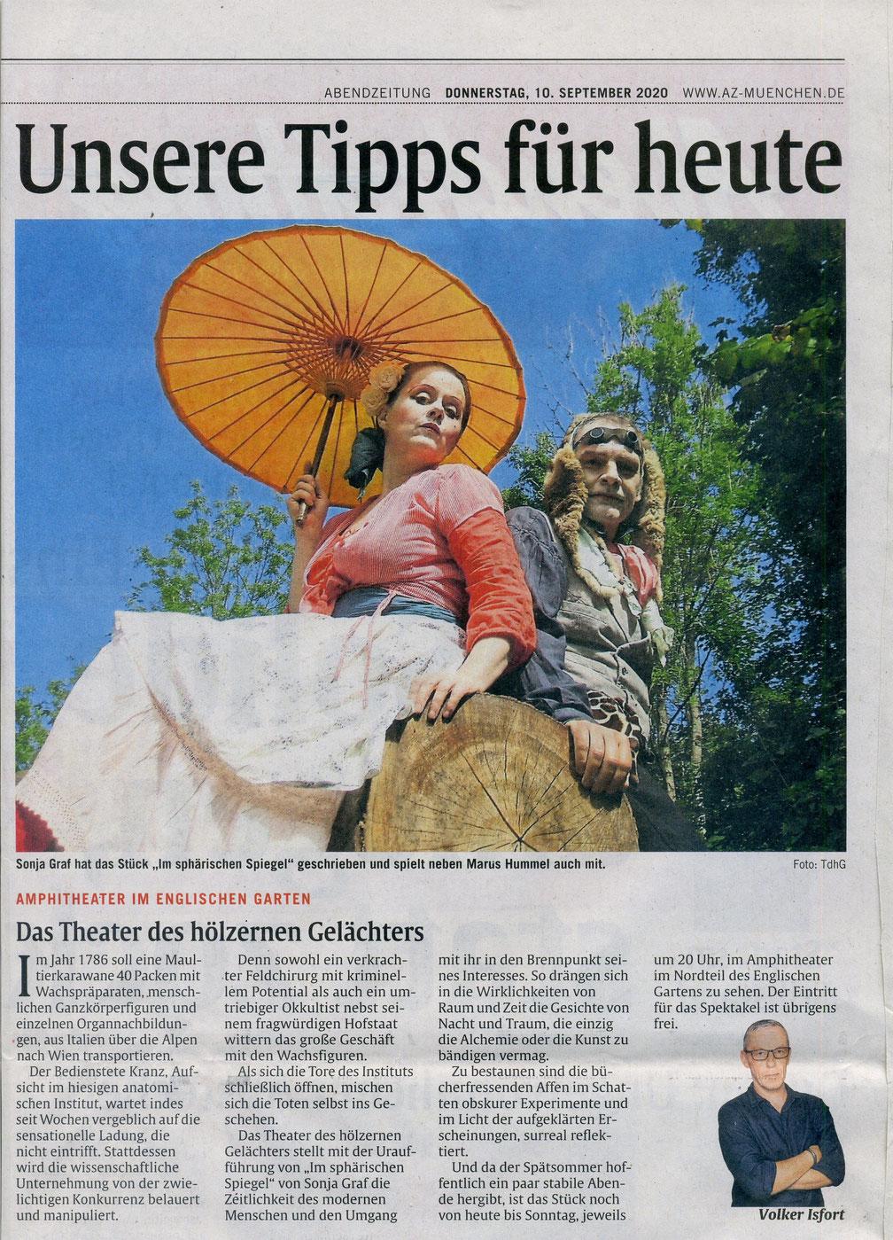 """""""Im sphärischen Spiegel"""", AZ, 10.09.2020"""