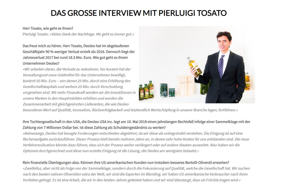 April 2018: Pierluigi Tosato stand dem Master of Olive Oil zur Neuausrichtung Deoleos Red und Antwort.