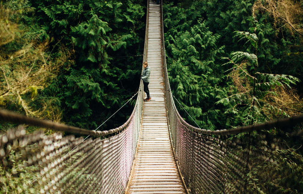 Lynn Canyon suspension bridge in Vancouver. Guide to Sea to Sky Highway