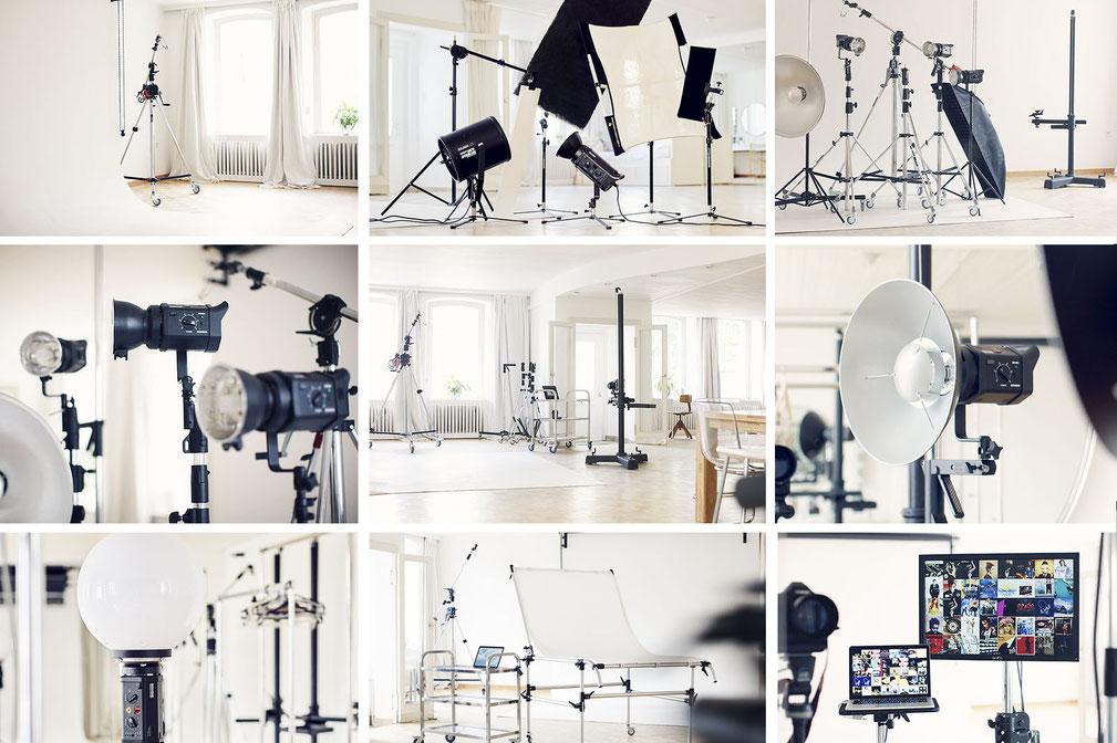 Unser Mietstudio mit all seinen Stativen, Leuchten und Lichtformern, kann bei einem Seminar, Workshop oder Einzel-Coaching erkundet werden.