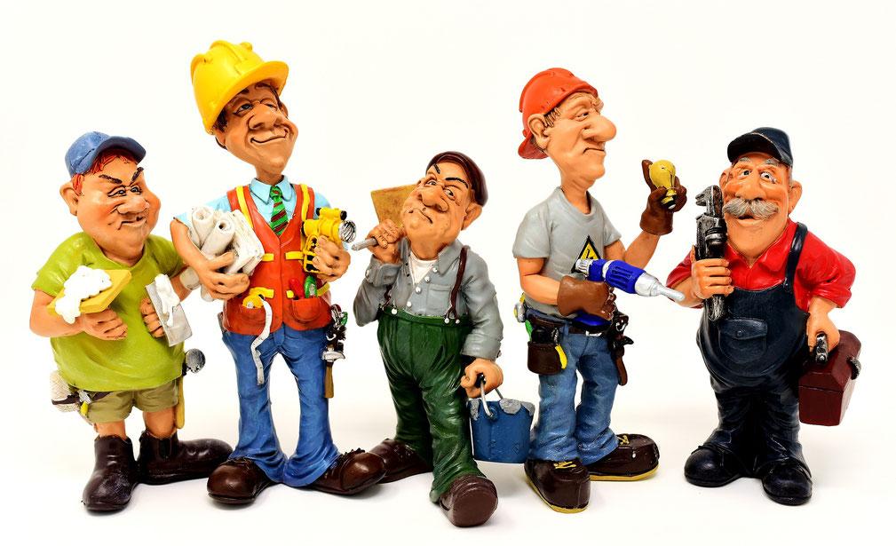 diverse Figuren von Handwerkern