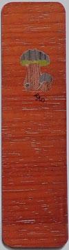 Marque-page Champignons 15x4 - Marqueterie -Atelier Eclats de bois -38 Isère
