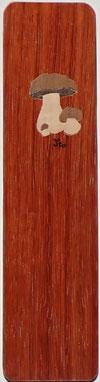 Marque-page Champignons 20x5 - Marqueterie -Atelier Eclats de bois -38 Isère