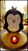Houten Sfeerlicht Pinguin uniek, theelichthouder speciaal, bijzondere sfeerlichten, uitgevallen theelichthouders