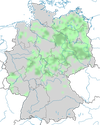 Karte zu den Brutvorkommen des Raubwürgers in Deutschland. im Winter.