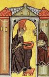 Hildegard beim Verfassen Ihrer Texte