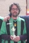 """Julio Candelas, fundador del Moralzarzal Subbuteo Club, orgulloso de debutar con """"La Roja"""". Mucha suerte, capitán, lo merecías."""