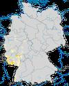 Karte zur Verbreitung des Orpheusspötters (Hippolais polyglotta) in Deutschland.