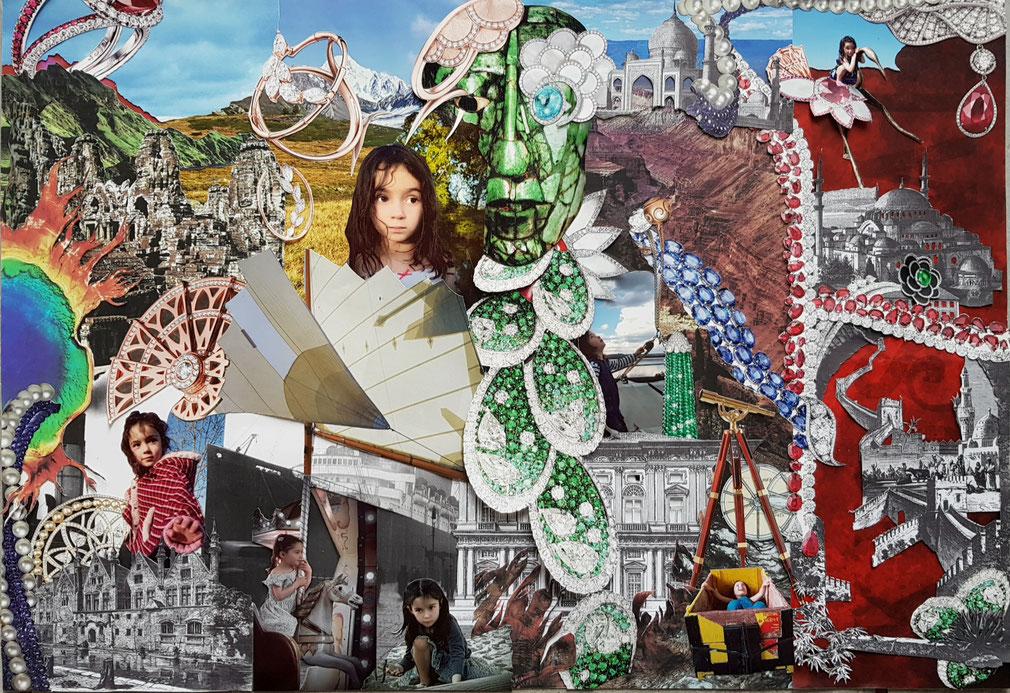 Photo montage Voyage extraordinaire d'une petite fille au pays des Pierres Precieuces. Maison Adler 2020. Creation et realisation Hervé Arnoul.
