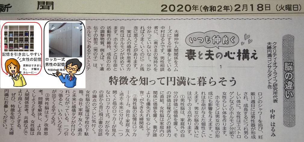 夫婦円満コンサルタントR 中村はるみの新聞コラム1 脳の違い:男女の特徴を知って円満に暮らそう
