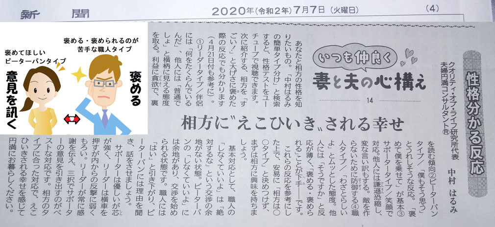 夫婦円満コンサルタントR 中村はるみの新聞連続コラム14 性格分析の4つのタイプの特徴を知って、伴侶にえこ贔屓されよう。