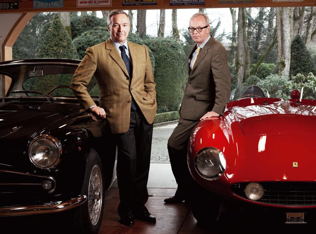 Karl-Friedrich Scheufele (left) and Peter Bradfield, with Scheufele's black 1956 Alfa Romeo 1900 CSS and red 1955 Ferrari 750 Monza | Image: Anoush Abrar