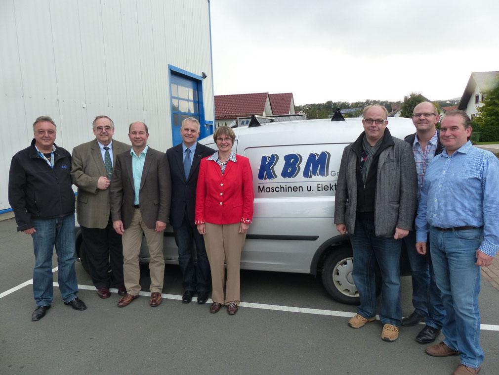 Von Links: Manfred Klein (KBM), Bernd Siebert (MdB), Horst Briel (KBM), Kurt Kramer, Claudia Ravensburg (MdL), Stephan Noll, Dirk Hofmann und Ralf Muth (KBM)