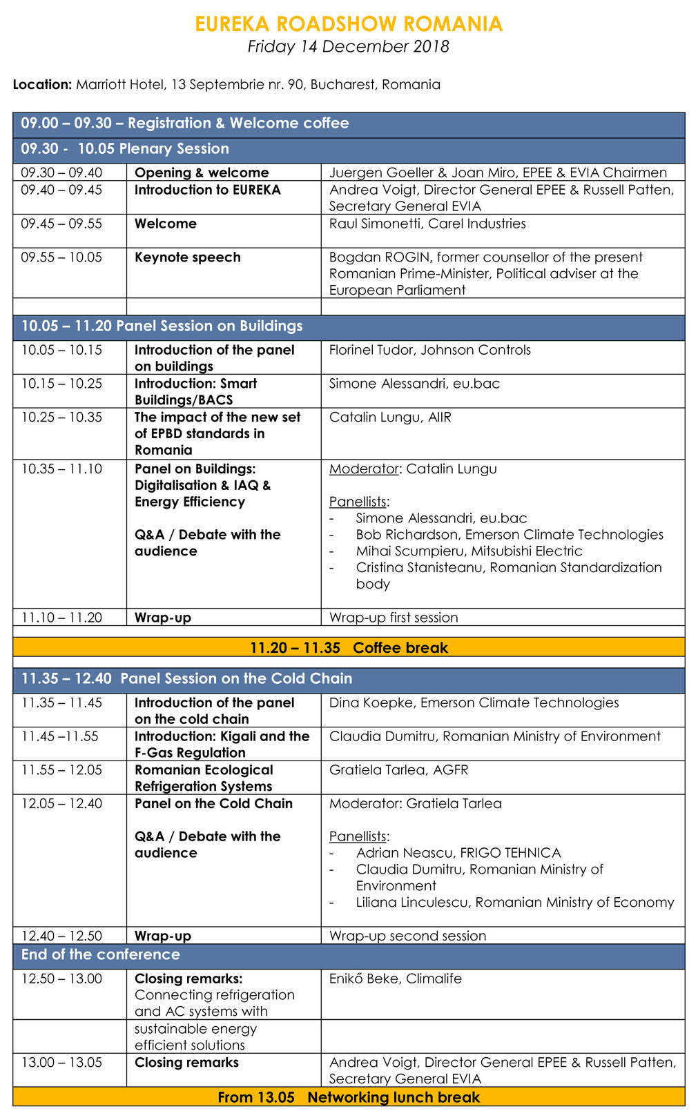 ROMANIA - Programme - Conference EUREKA 2019