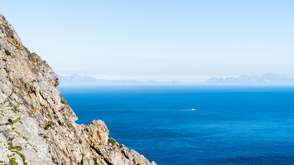 False Bay view from Klein-Hangklip mountain, Rooi-Els, South Africa
