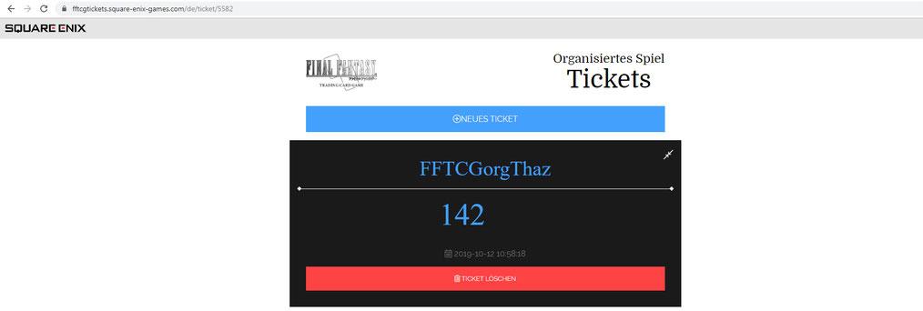 Alternative Ansicht eines einzelnen Tickets / Codes