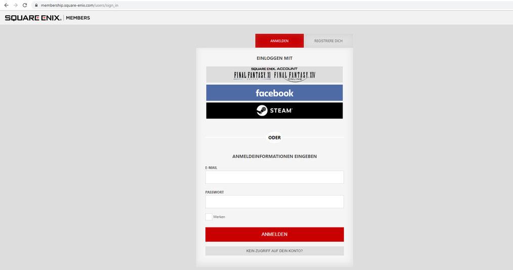 Logge dich mit deiner registrierten E-Mail Adresse und Passwort, oder über einen verlinkten Account ein (FFXI, FFXIV, facebook, STEAM)