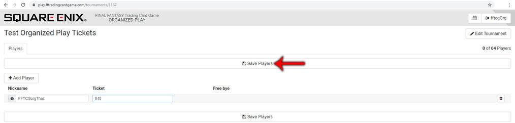 """Nachdem Nickname und Ticket eingegeben wurden, einfach auf """"Save Players"""" klicken."""