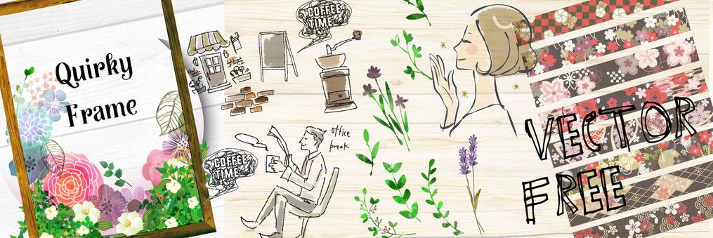 おしゃれな女性やかわいいシンプルな手描きイラストのフリー素材