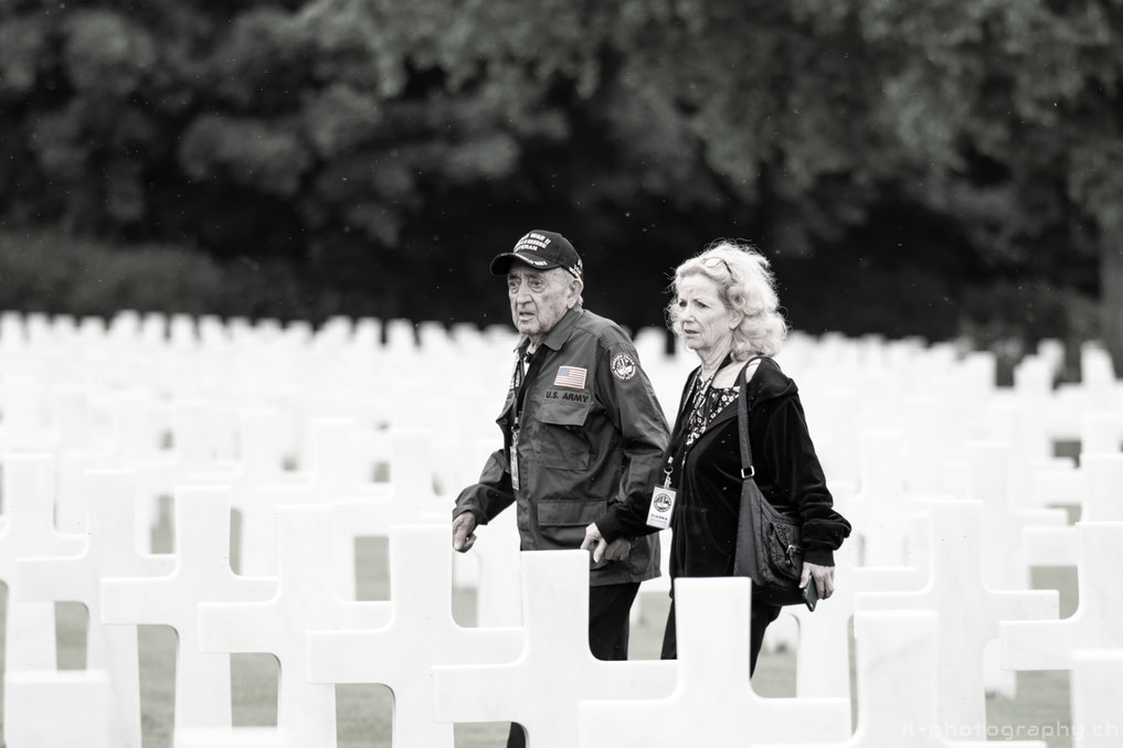 Nono Zicari, the 96 year old WWII-Veteran,  at the american cemetery in normandy.