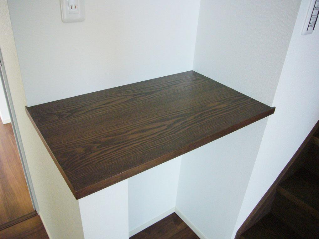 ウォールナットカウンター。突き板にて自由な形状と色でオリジナル品をお作りいたします。