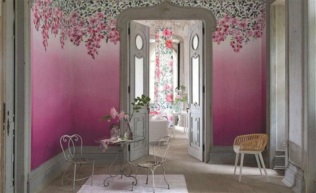 Carta da parati a fiori Trailing rose Peony - Designers Guild