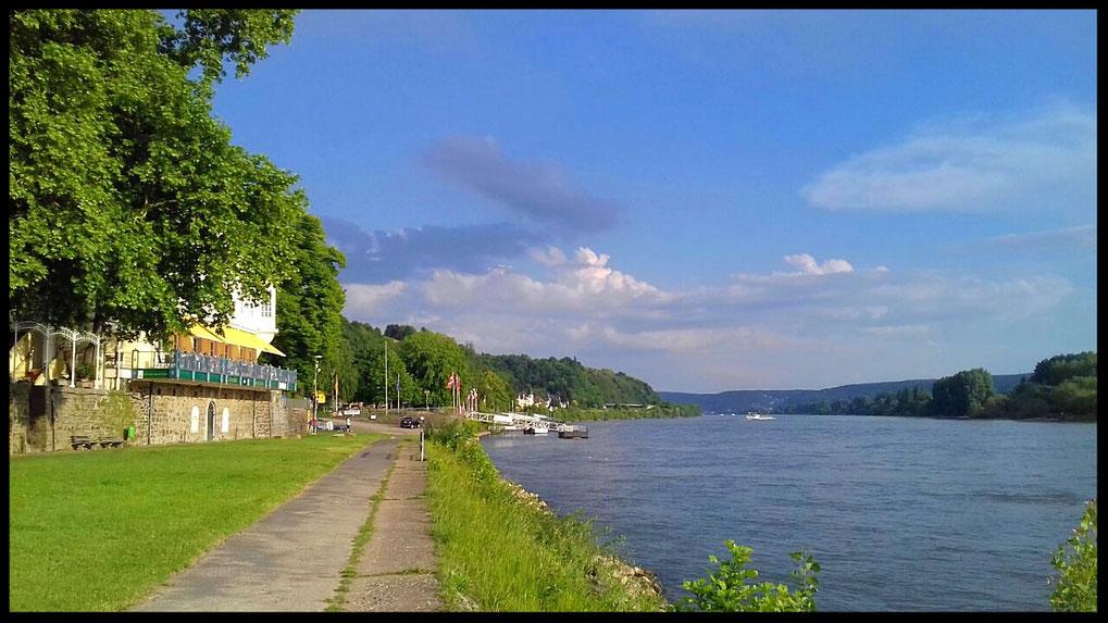 Sonnenterrasse des Linzer Brauhauses direkt am Rhein und Fähranleger nach Remagen (Autofähre)