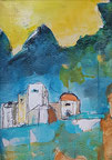 Dorf auf Kreta, Acryl/Papier 30x24 cm