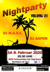 Flyer Nightparty Vol.21 2020 Schwanden bei Sigriswil