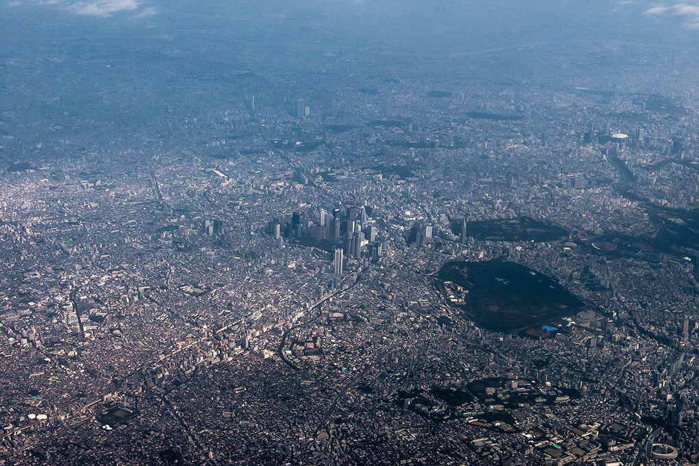 Tokyo from a plane, Megacity with Skyscrapers and Parks, gigantic metropole, Japan, Asia, 1280x853px