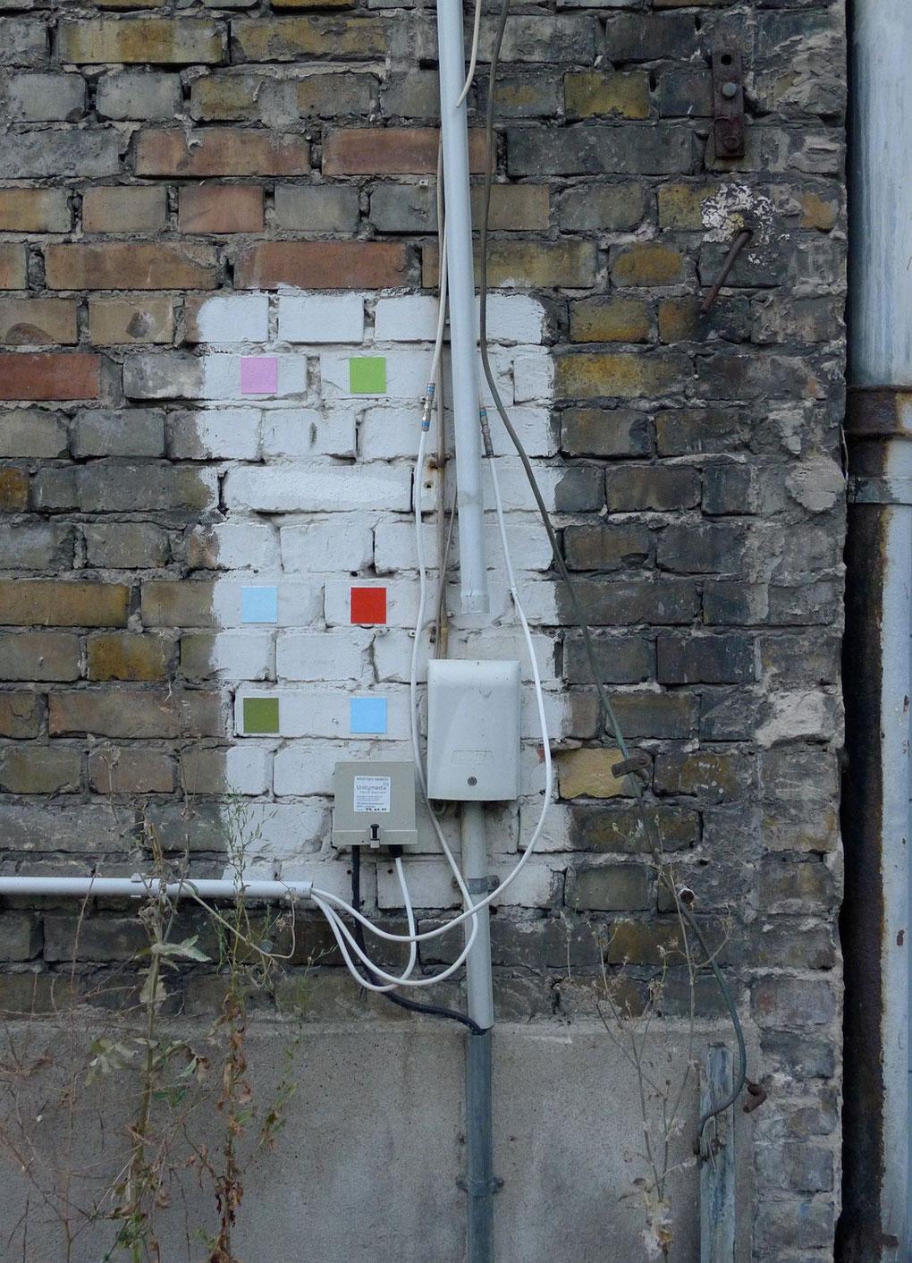 LA LA LA LA, 2013, Malerei auf Leinwand, 6 Quadrate, je 5 x 5 cm, Lippstadt, Fleischhauerstraße