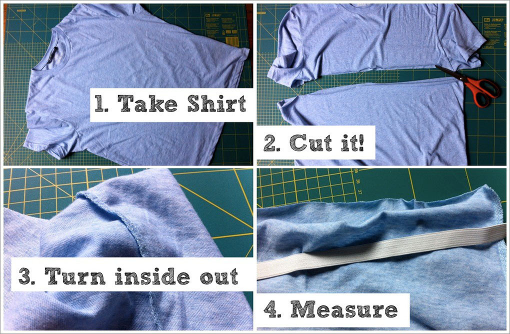 How to make a rectangle skirt, step 1-4