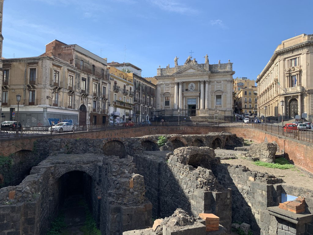 Italien, Sizilien, antike Stätte, Amphitheater, Chiesa di San Biagio, Kirche, Catania, Sehenswürdigkeit