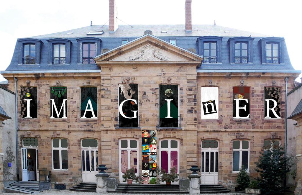 """Façade du musée de l'illustration jeunesse, conception des visuels de façade pour l'exposition """"Imagi(n)er"""""""
